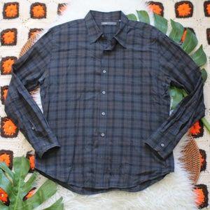 Vince Men's Button Down Plaid Shirt Size Large